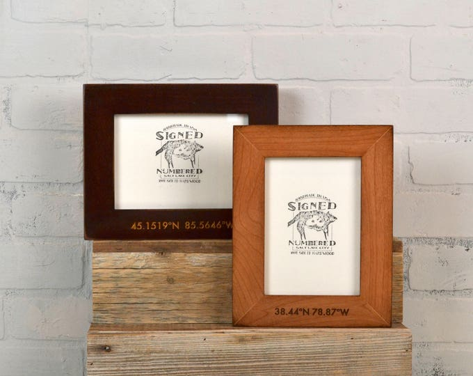 Personalized Coordinates Frame Custom Engraved in Vintage COLOR of YOUR CHOICE - Location Frame - Vertical or Horizontal Orientation