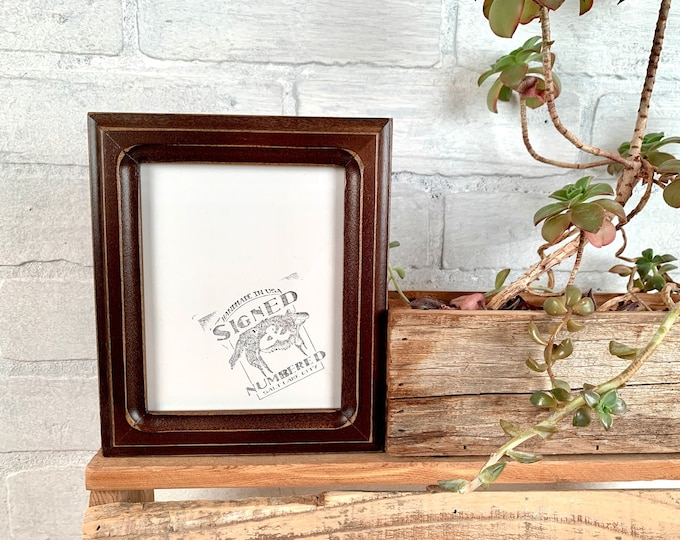4.5x5.5 Picture Frame - SHIPS TODAY - 1x1 Double Cove Style with Vintage Dark Wood Tone finish - In Stock Picture Frame 4.5 x 5.5 inches