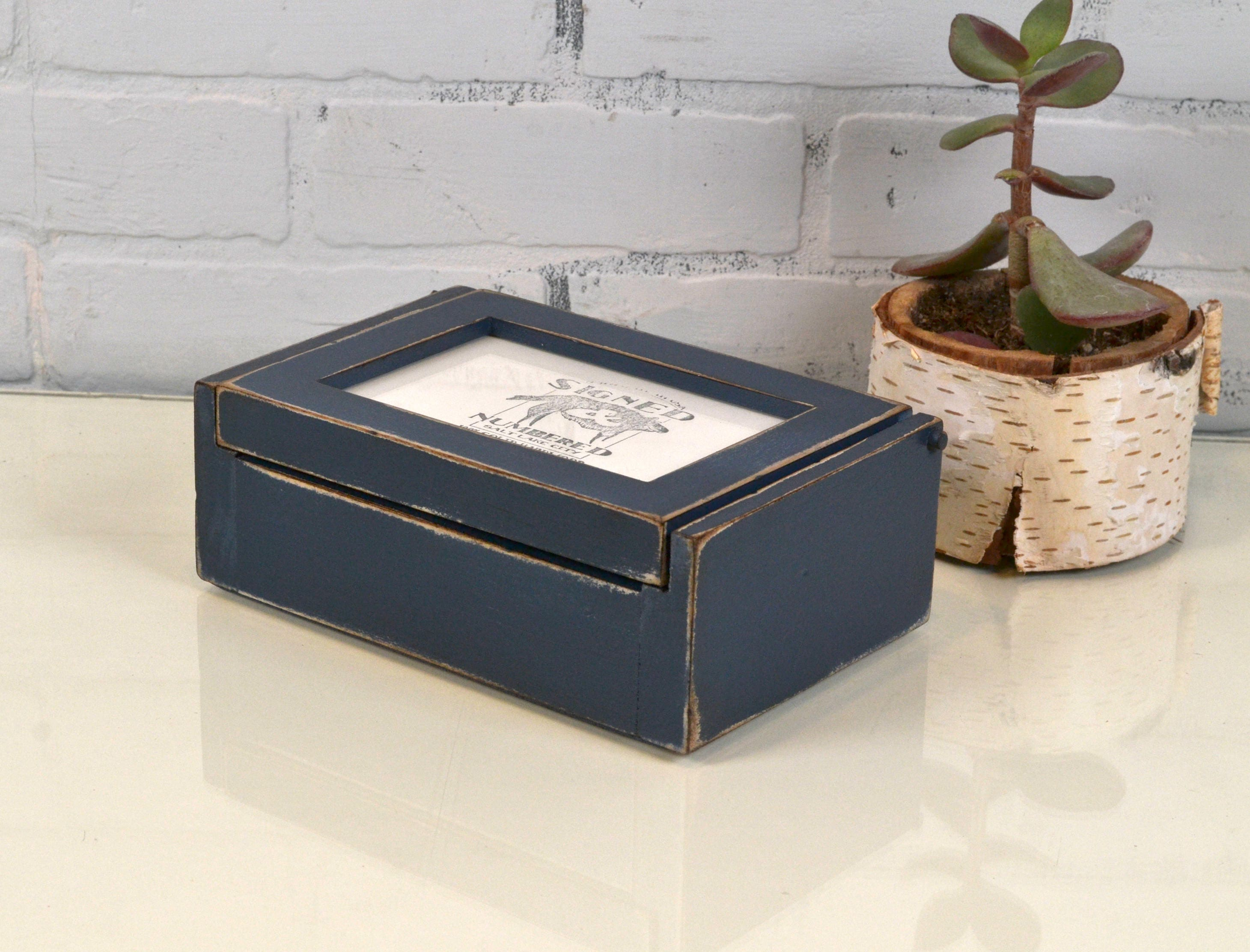 Wooden Keepsake Box 4x6 Picture Frame Lid In Super Vintage Navy