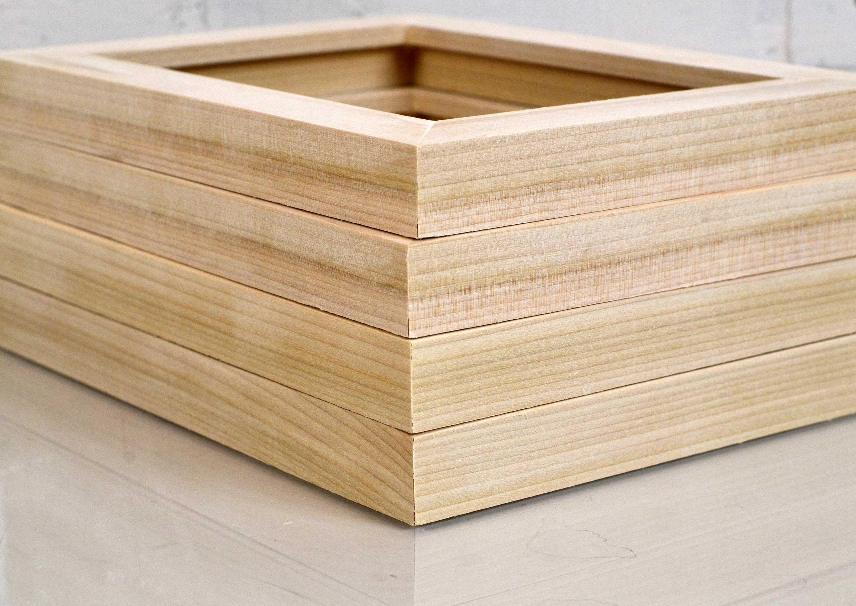 Blank Picture Frames for Artists - 1x1 Flat Natural Poplar Style