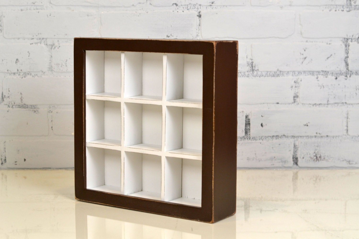 Display Case Shadow Box Frame with 9 Small compartments - Outside ...