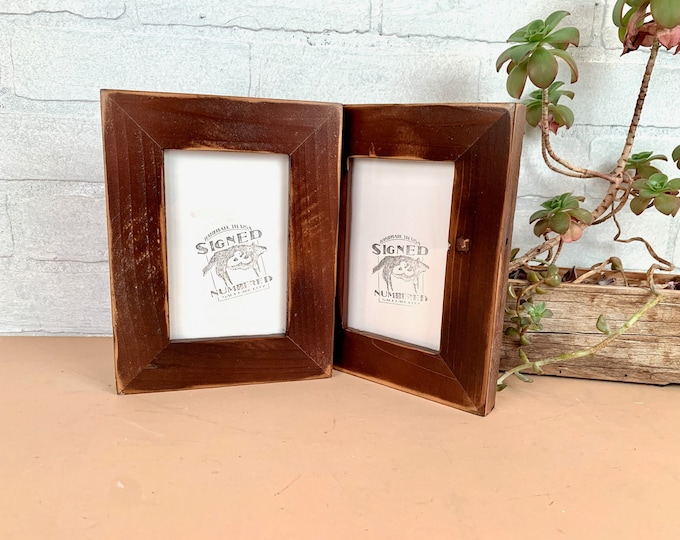 """4x6 Picture Frame  - SHIPS TODAY - 1.5"""" Reclaimed Cedar Wood with Super Vintage Dark Wood Tone Finish - In Stock - 4 x 6 Rustic Frame"""