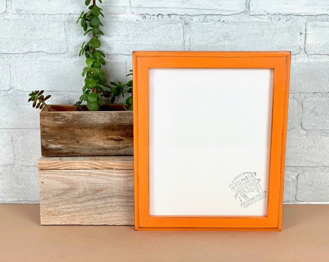 """8x10"""" Picture Frame - SHIPS TODAY - 1x1 Outside Cove Style with Vintage Orange Finish 8 x 10 Frame - In Stock - 8x10 photo display"""