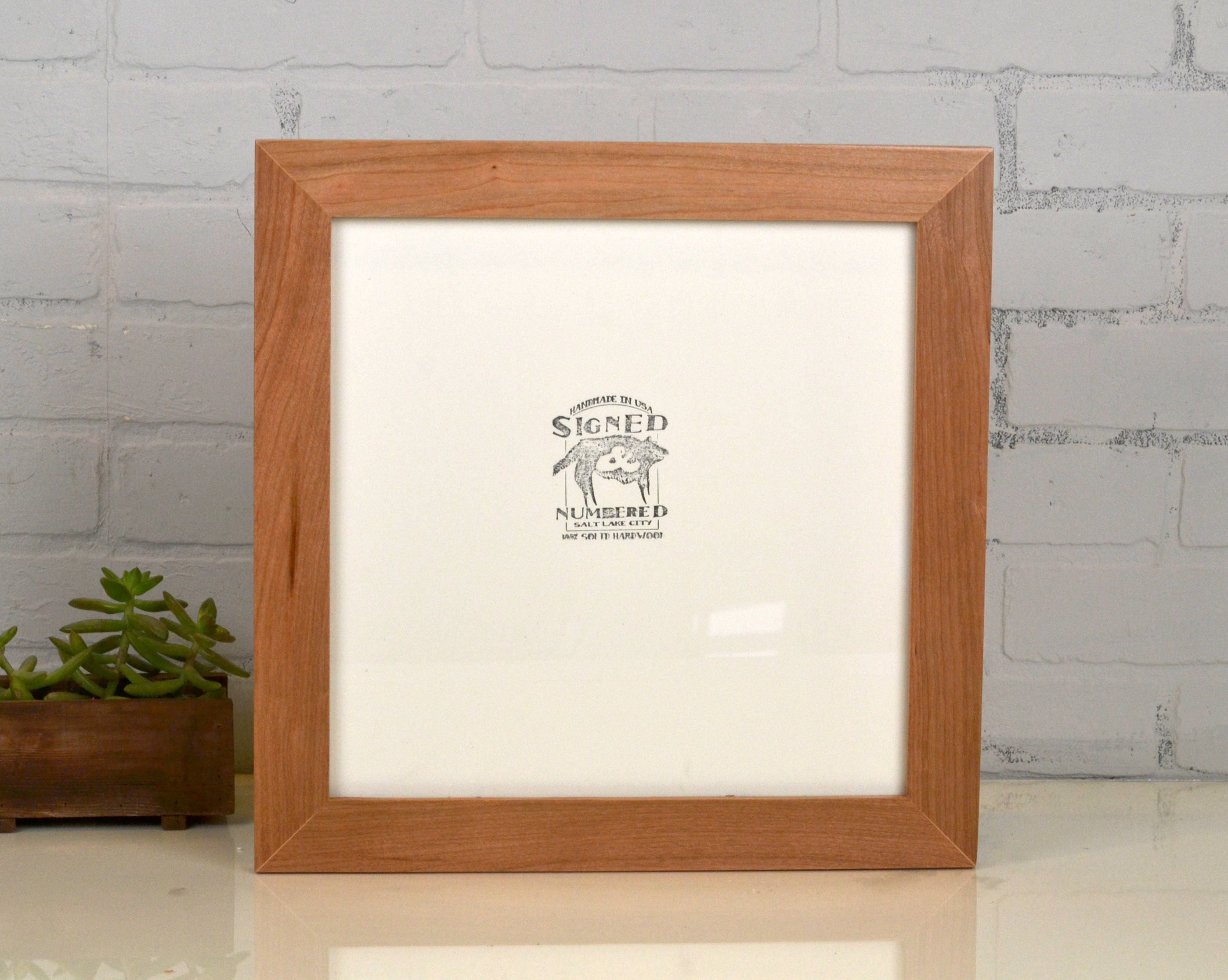 12x12 Square Picture Frame in 1.5 inch Wide Natural Cherry Wood ...