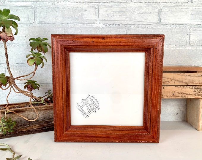 """8x8"""" Square One of a Kind Picture Frame - SHIPS TODAY - Chunky Rounded Reclaimed Fir with Vintage Wood Tone Finish - In Stock - 8x8"""" Frame"""