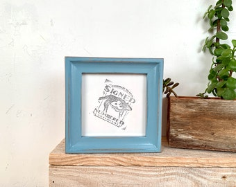 4x4 Square Photo Frame - SHIPS TODAY - Foxy Cove Style with Vintage Smokey Blue Finish - In Stock - 4 x 4 Photo Frames Blue Decor