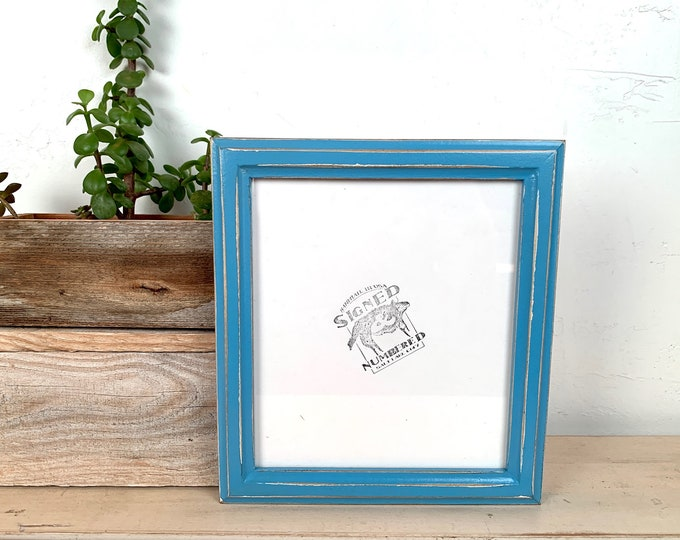 """7x8"""" Picture Frame - SHIPS TODAY - Vintage Blue Finish 1x1 Double Cove Style - In Stock - 7 x 8 Photo Frames on Sale"""