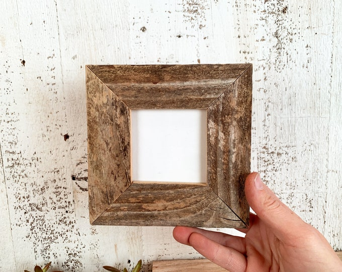 """3x3"""" Square Picture Frame - SHIPS TODAY - 1.5 Rustic Natural Reclaimed Cedar - In Stock - 3x3 Photo Frame Barn wood"""