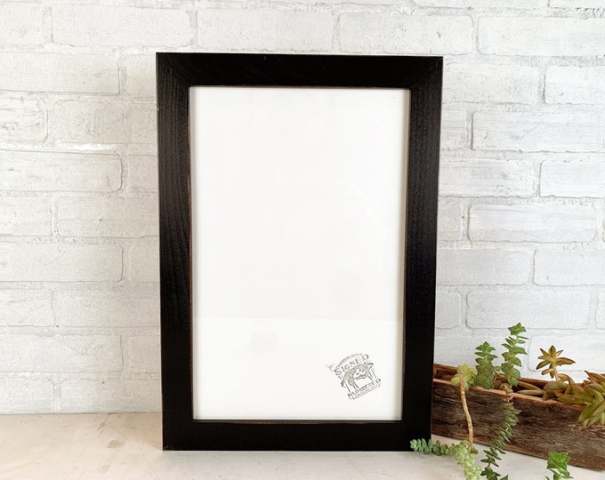 """11x17 Picture Frame - SHIPS TODAY - 1.5 Standard Style with Vintage Black Finish - Handmade 11 x 17"""" Black Photo Frame - In Stock"""