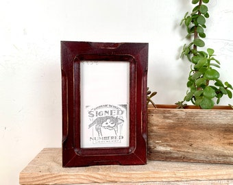 3x5 Picture Frame in 1x1 Shallow Bones Style with Vintage Mahogany Finish - IN STOCK - Same Day Shipping - SALE 3 x 5 Photo Frame