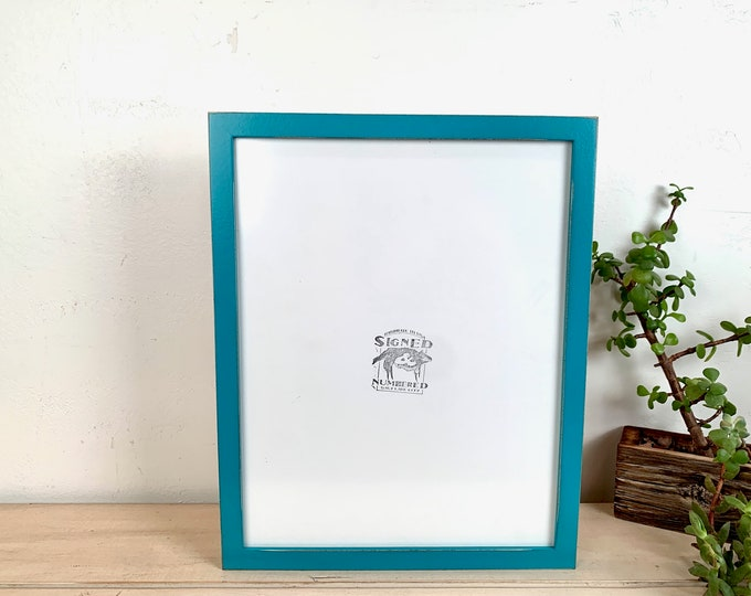 """11x14"""" Picture Frame - SHIPS TODAY - Peewee Style with Vintage Turquoise Blue Green Finish - In Stock - Handmade 11 x 14 Solid Hardwood"""