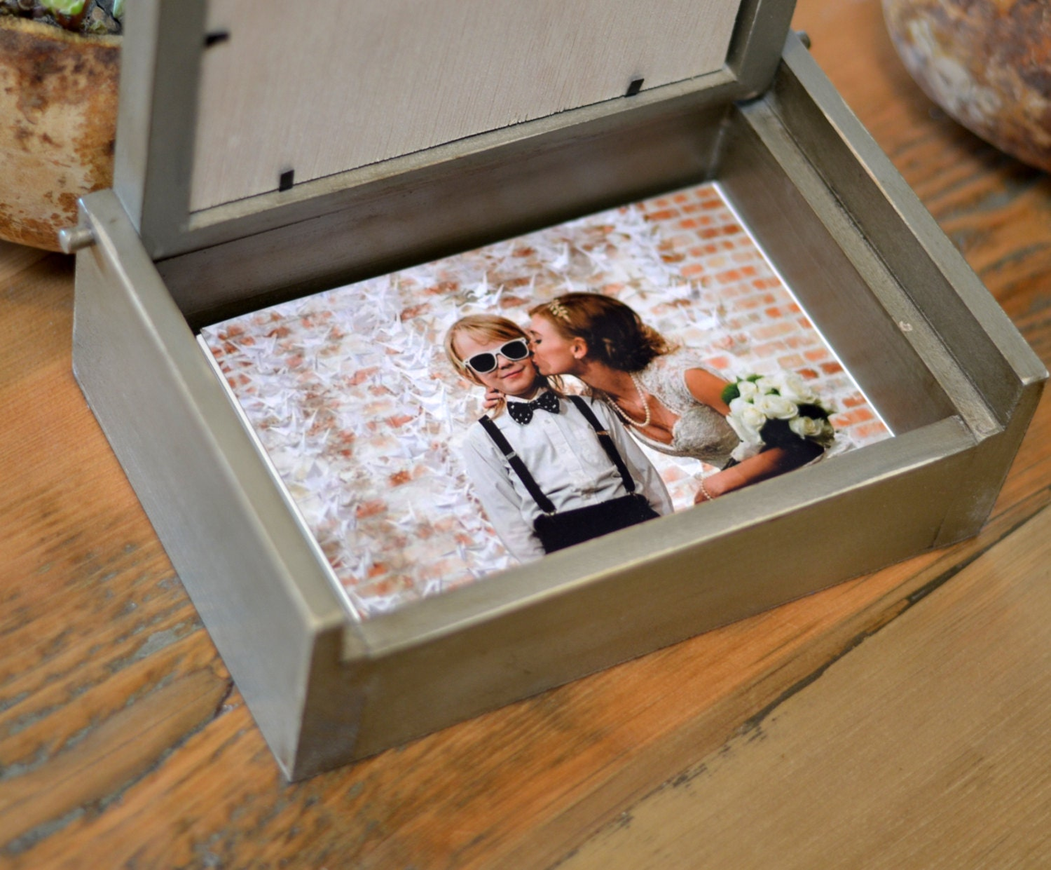 Handmade Wooden Keepsake Box W 5x7 Picture Frame Lid Pencil