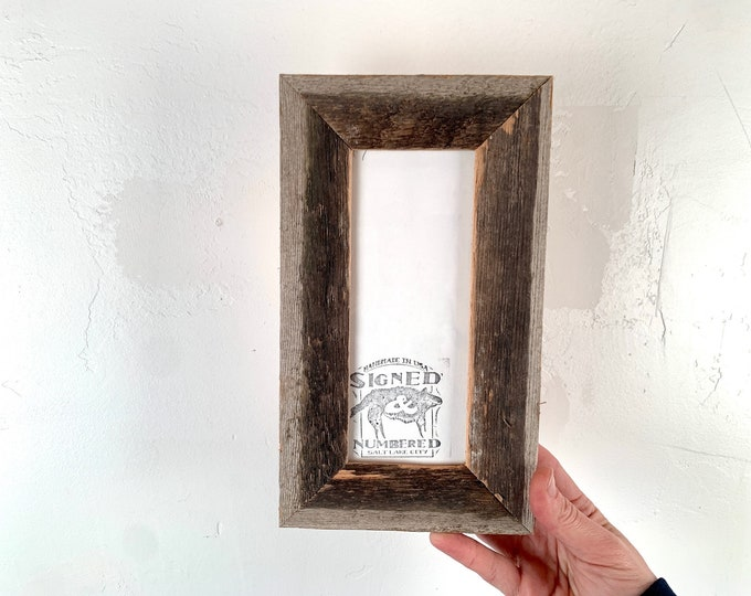 """3x7"""" Picture Frame SHIPS TODAY - 1.5 inch Rustic Natural Reclaimed Cedar - In Stock - SALE 3 x 7 inch Photo Frame"""