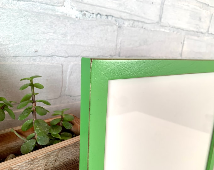 """10x10"""" Picture Frame - SHIPS TODAY - Peewee Style with Vintage Green Pear Finish - In Stock - 10x10 inch Handmade Green Frame"""