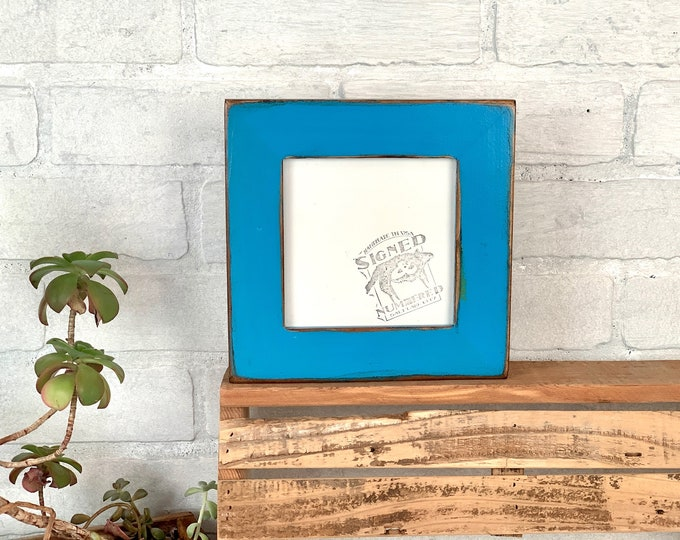 """5x5"""" Square Picture Frame - SHIPS TODAY - 1.5"""" Reclaimed Cedar with Super Vintage Cobalt Blue Finish - In Stock - 5 x 5 Reclaimed"""