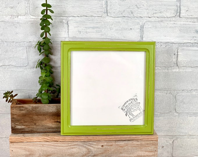 """8x8"""" Picture Frame - SHIPS TODAY - 1x1 Double Cove Style with Vintage Asparagus Green Finish - In Stock - 8 x 8 Square Photo Frame"""