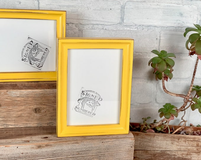 5x7 Picture Frame - SHIPS TODAY - Foxy Cove Style with Vintage Yellow Finish - In Stock - 5 x 7 Frame Solid Hardwood Yellow Decor