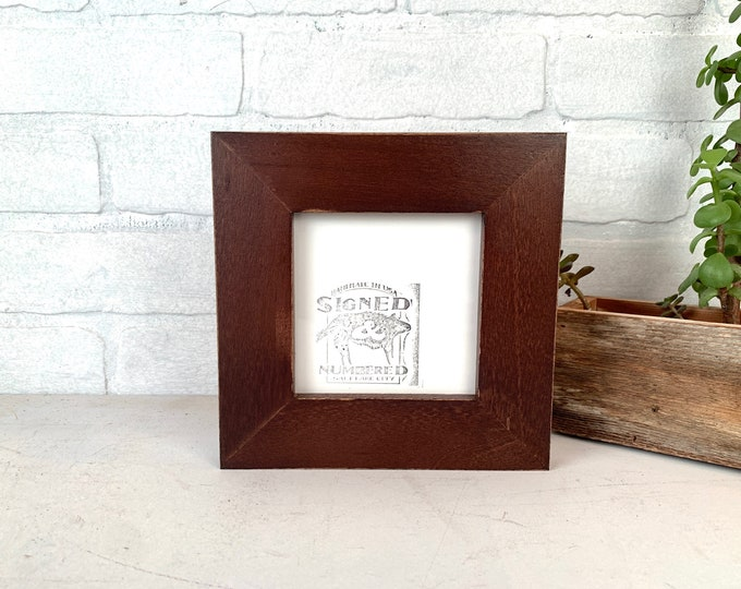 """4.25x4.25 Square Picture Frame - SHIPS TODAY - 1.5 inch Standard Style with Vintage Dark Wood Tone Finish In Stock - Frame 4.25 x 4.25"""""""