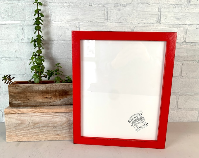 10x12.5 Picture Frame - SHIPS TODAY - 1x1 Flat style with Vintage Ruby Red Finish - In Stock - 10 x 12.5 inch Wood Frame Solid Hardwood