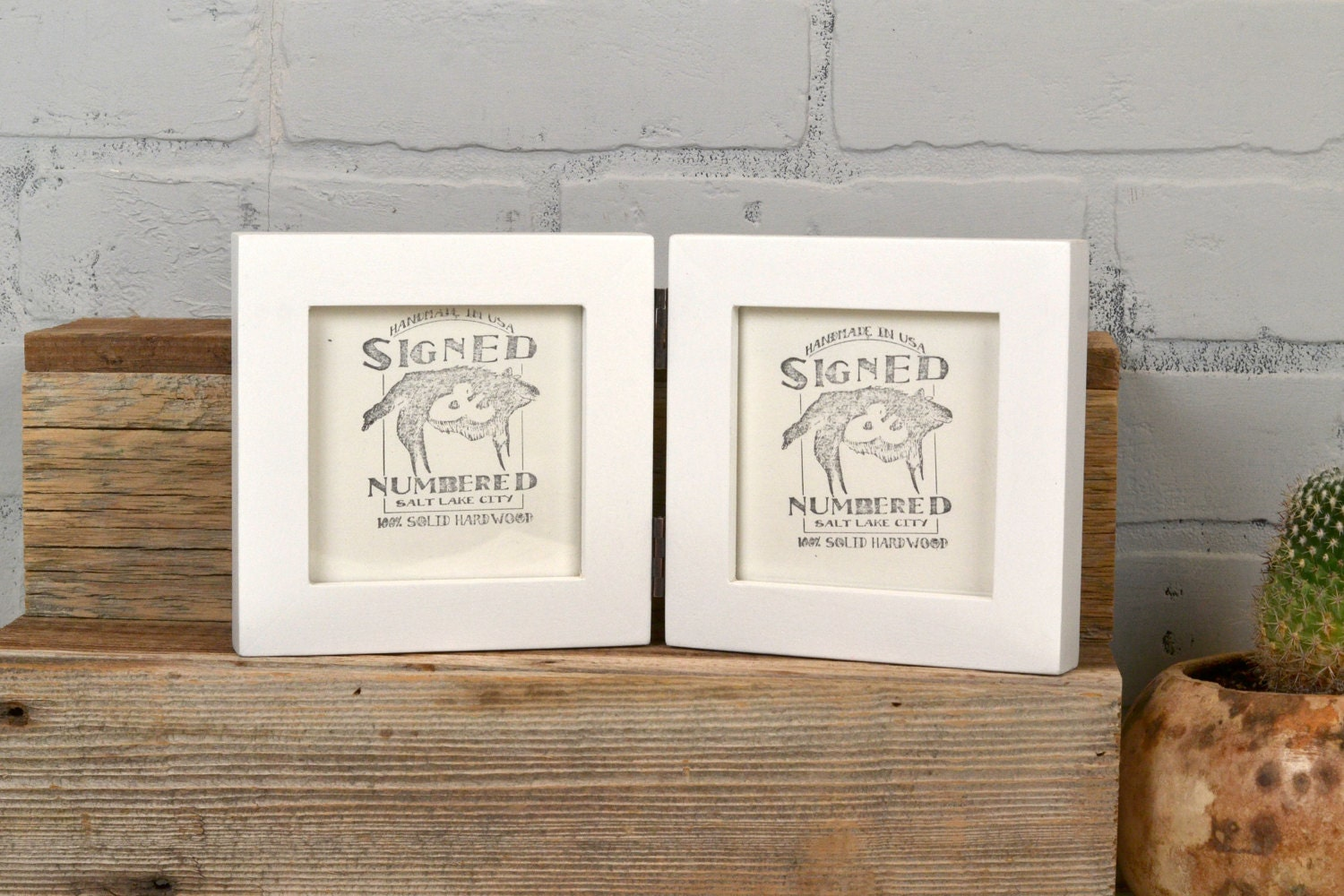 Two 4x4 Square Picture Frames in 1x1 Flat Style Hinged Together in ...