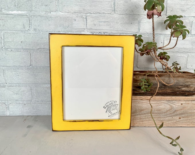 """8x10 Picture Frame in 1.5"""" Reclaimed Cedar with Super Vintage Yellow Finish - IN STOCK - Same Day Shipping - 8 x 10 Reclaimed Wood"""