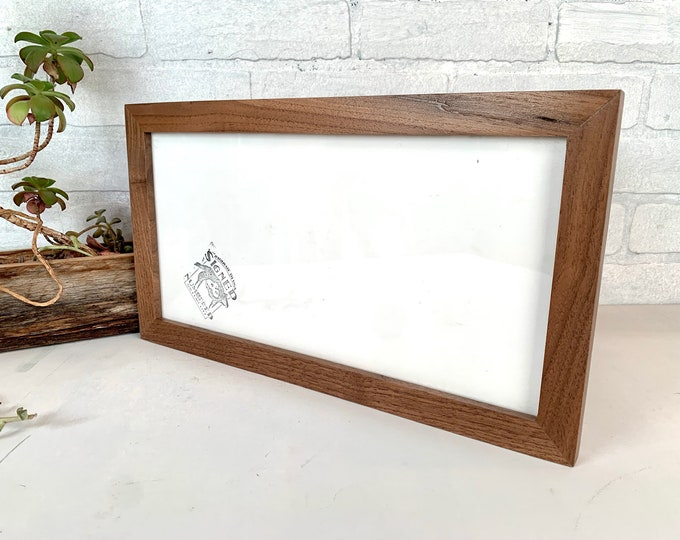 """7x14""""Panoramic Picture Frame - SHIPS TODAY - 1x1 Flat Style with Solid Natural Walnut Finish - In Stock - 7 x 14 inch Panoramic Photo Frame"""