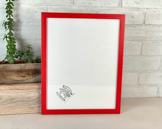 """11x14"""" Picture Frame - SHIPS TODAY - Solid Walnut Peewee Style with Vintage Ruby Red Finish - In Stock - Handmade 11 x 14 Solid Hardwood"""