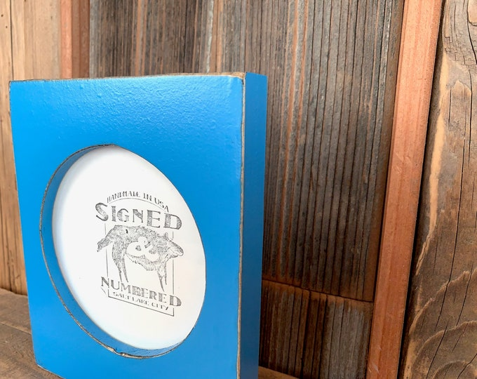 4x4 Pine Circle Opening Picture Frame with Vintage Cobalt Blue Finish - IN STOCK - Same Day Shipping - 4 x 4 inch Circle Round Picture Frame