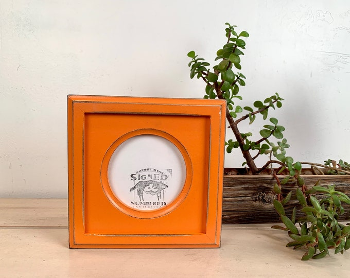4x4 Circle Frame - SHIPS TODAY - Vintage Orange Finish Outside Cove Build up Edge Circle Opening Frame - In Stock - 4 x 4 Round