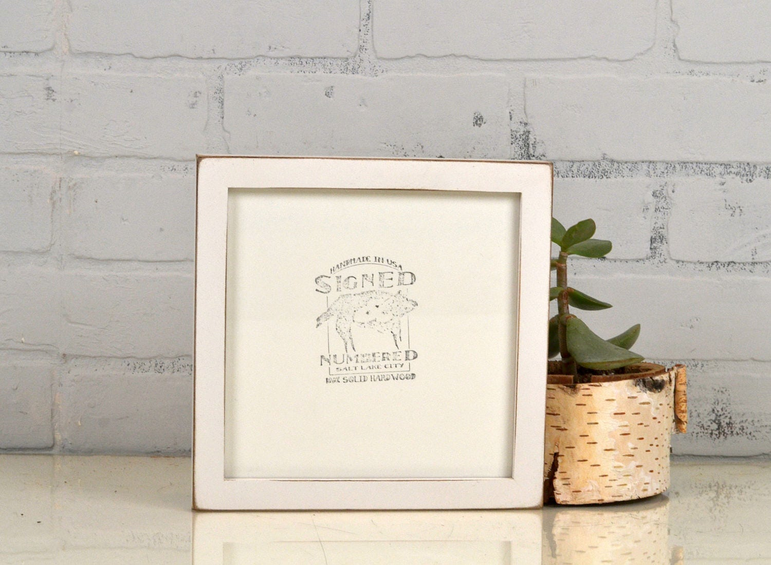 7x7 Square Picture Frame in Peewee Style with Vintage White Finish ...