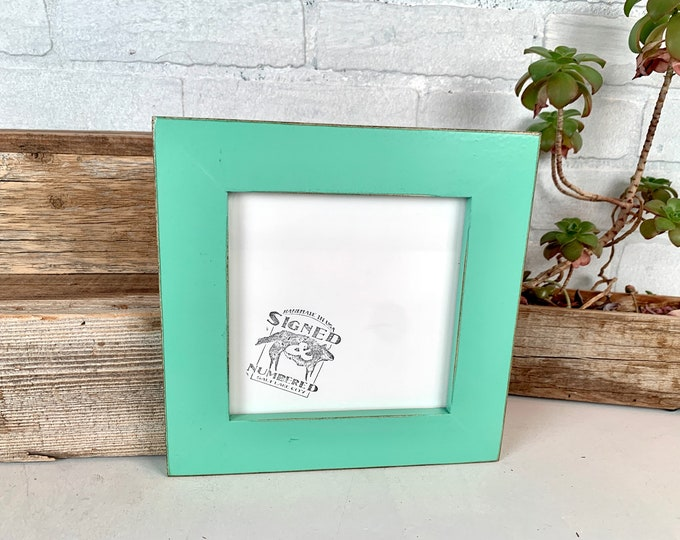 """6x6"""" Square Frame in 1.5 Standard style with Vintage Robin's Egg Finish - IN STOCK - Same Day Shipping - Rustic 6 x 6 Photo Frame"""