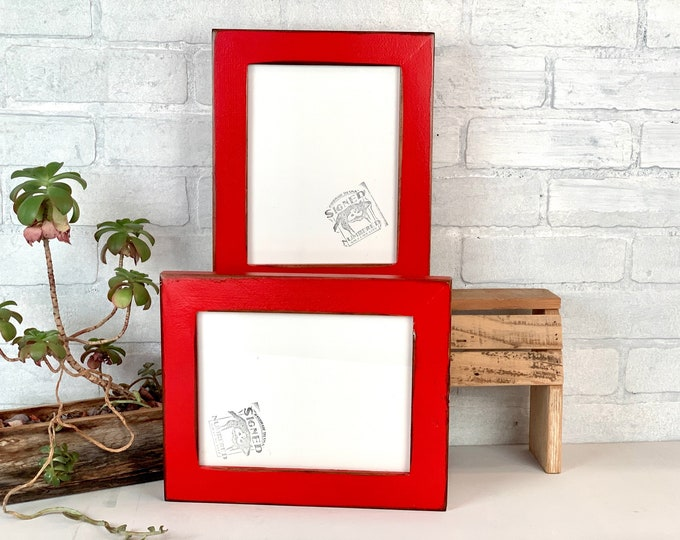 """7x9 Picture Frame - SHIPS TODAY - 1.5"""" Reclaimed Cedar Style with Vintage Ruby Red Finish - In Stock - 7 x 9 Reclaimed Wood Frames"""
