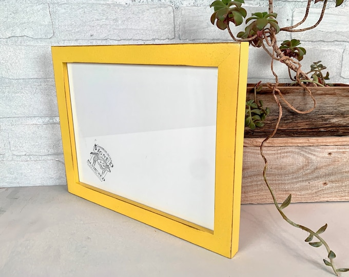 """8.25x11"""" Picture Frame - SHIPS TODAY - 1x1 Flat Style with Vintage Yellow Finish - In Stock - Handmade Frame 8.25 x 11 inches"""