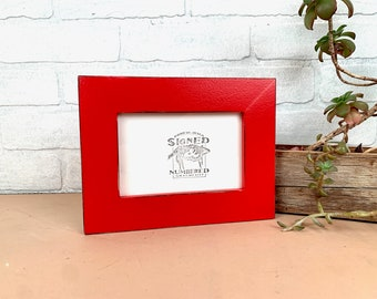 """4x6 Picture Frame - SHIPS TODAY - 1.5"""" Standard Style with Vintage Ruby Red Finish - In Stock - 4 x 6 Photo Frame Rustic Red"""