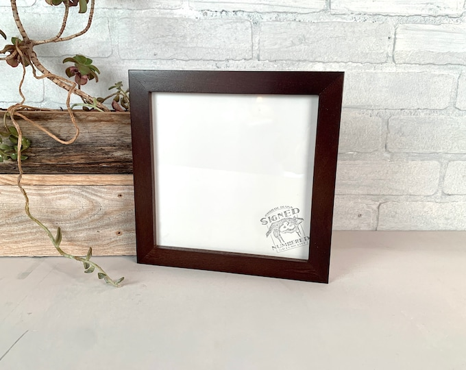 """8x8"""" Picture Frame - SHIPS TODAY - 1x1 Flat Style with Vintage Dark Wood Tone Finish - In Stock - 8 x 8 Square Photo Frame Brown Decor"""