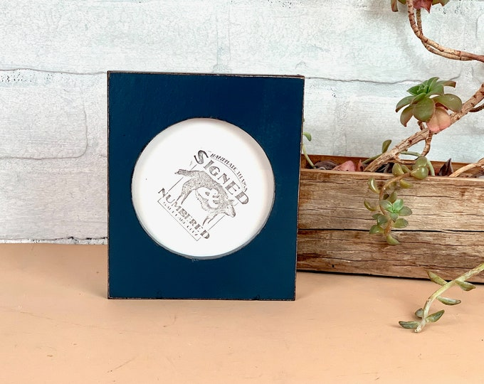 4x4 Pine Circle Opening Picture Frame with Vintage Navy Blue Finish - IN STOCK - Same Day Shipping - 4 x 4 inch Circle Round Picture Frame