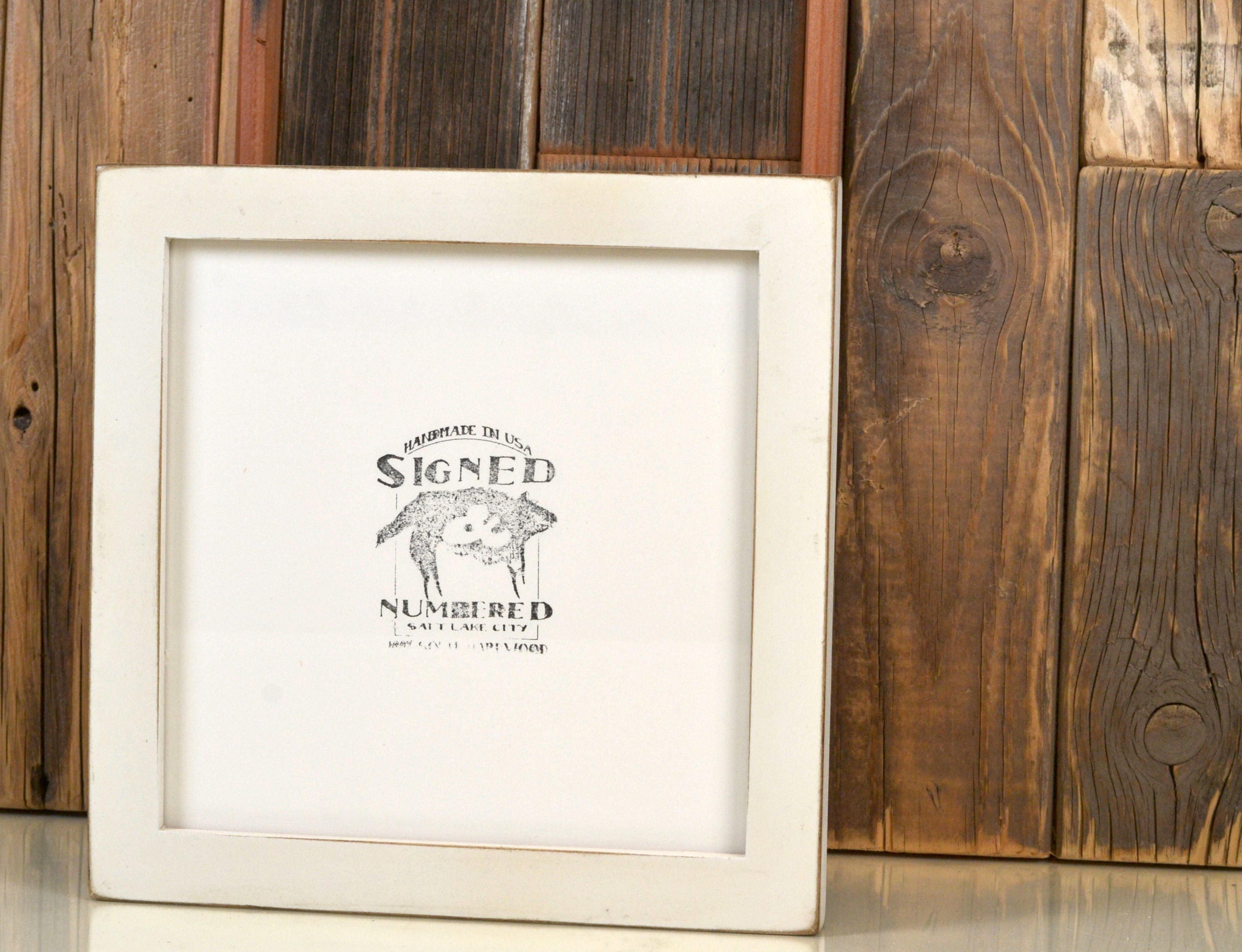 8x8 Square Picture Frame in 1x1 Flat Style with Vintage White Finish ...