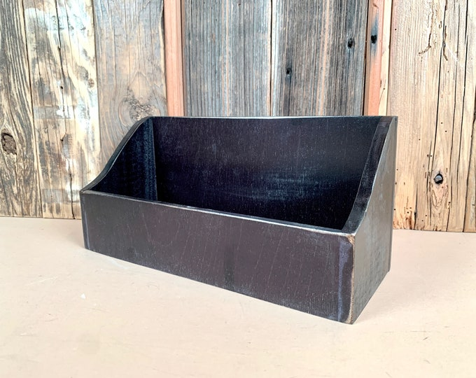 Personalized Desktop Letter / Mail / Organizer Box with Vintage Black Finish built from solid poplar hardwood - SHIPS RIGHT AWAY