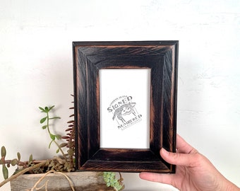 """4x6 Picture Frame 2"""" Wide Roughsawn Reclaimed Redwood with Super Vintage Black Finish - IN STOCK Same Day Shipping - 4 x 6 Rustic Frame"""
