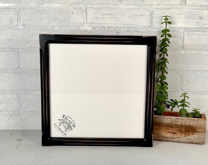 10.75x10.75 Square Picture Frame - SHIPS TODAY - 1x1 Shallow Bones Style with Vintage Black Finish - In Stock - 10.75 x 10.75 inch Frame