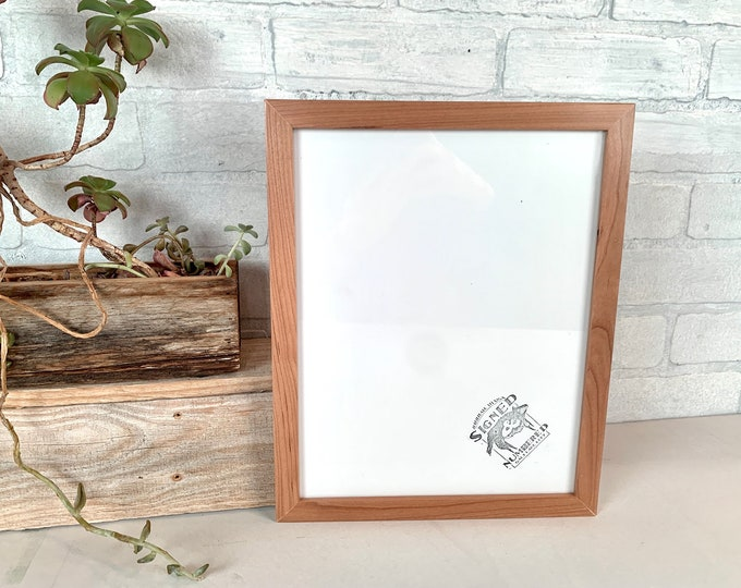 """9x11.5 Picture Frame - SHIPS TODAY - Peewee Style with Solid Natural Cherry Finish - In Stock - Rustic Frame 9 x 11.5"""""""