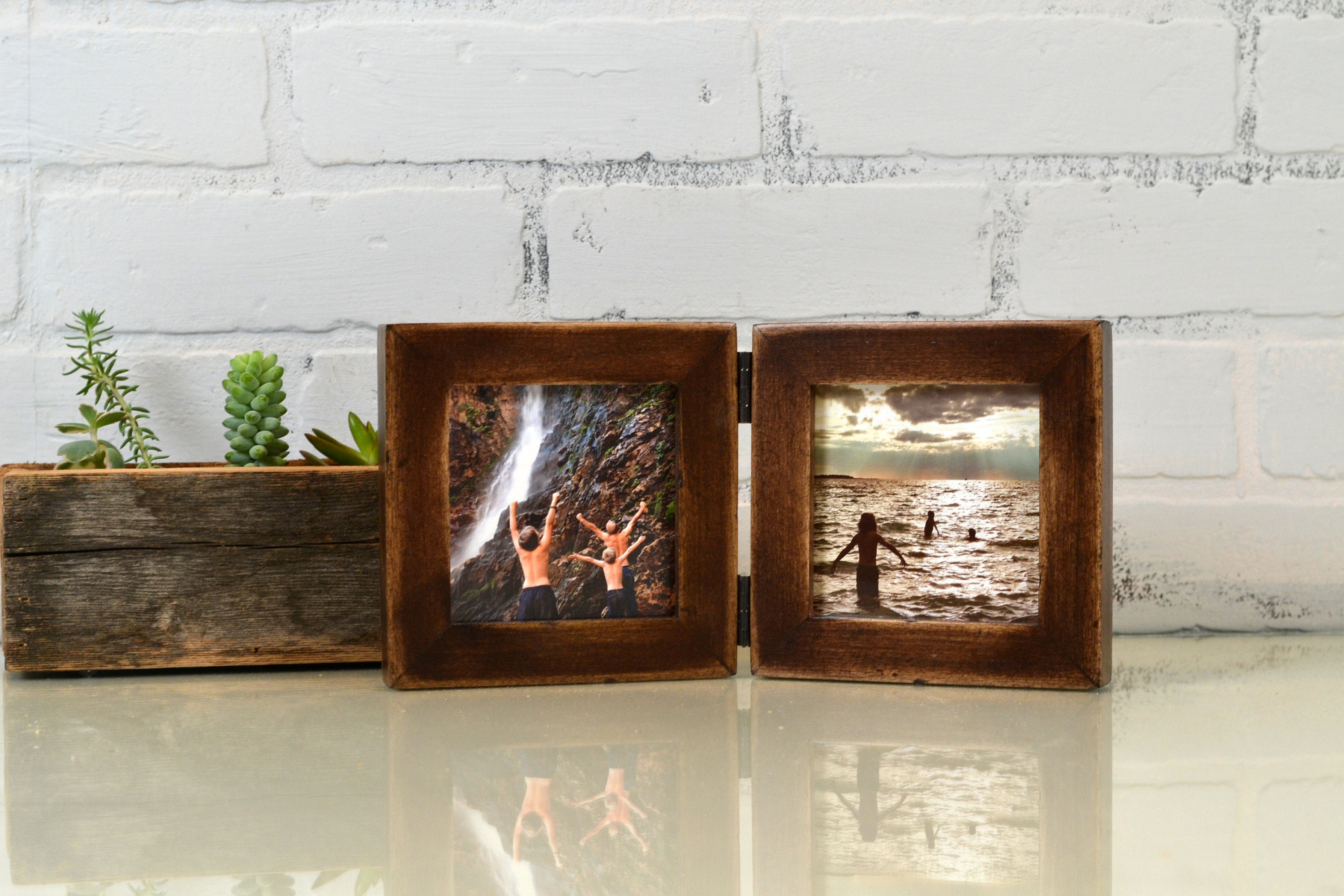 Two 4x4 Picture Frames In 1x1 Flat Style Hinged Together Super