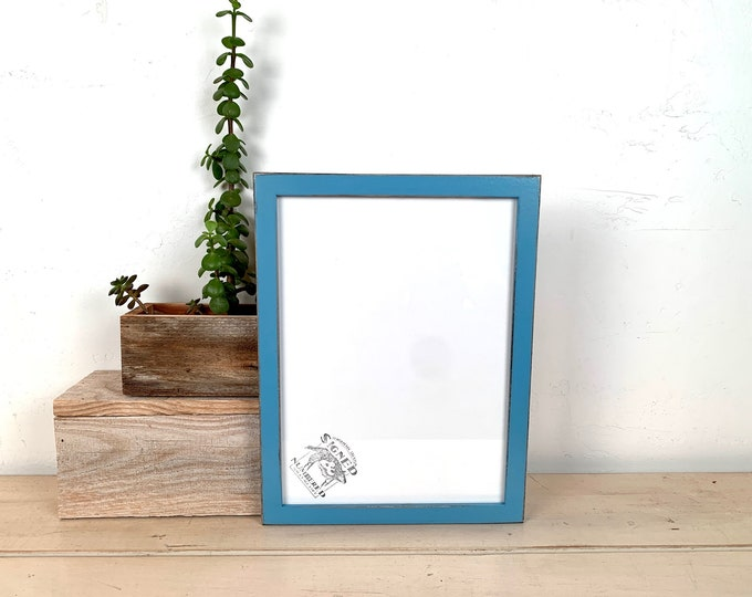 """8.5 x 11.5"""" Picture Frame - SHIPS TODAY - Peewee Style with Vintage Blue Finish - In Stock - 8.5x11.5 inch Picture Frame Hardwood"""