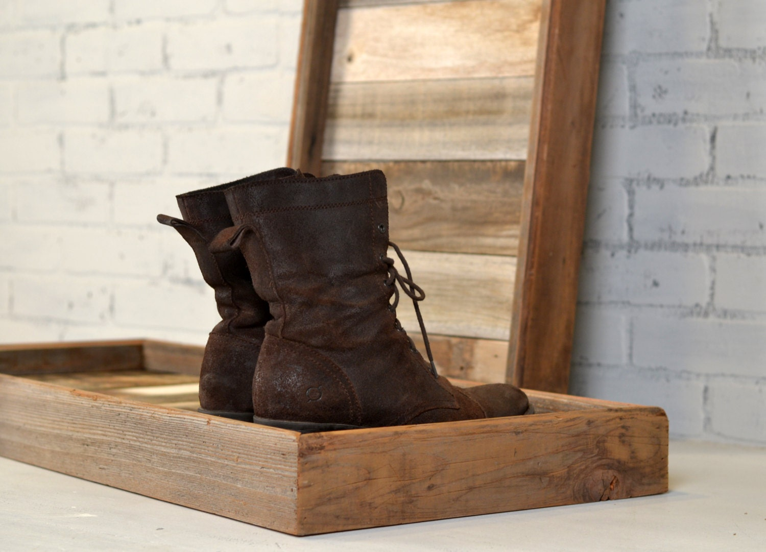 Boot Tray Made From Reclaimed Wood Shoe Storage Entryway Organization 36 Inches Long By 15 Inches Wide In Stock Same Day Shipping