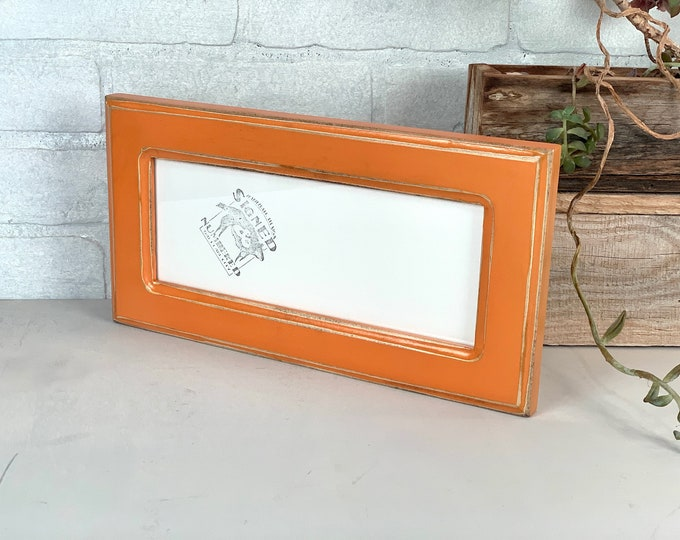 """4x10"""" Panoramic Picture Frame - SHIPS TODAY - 1.5 Wide Double Cove Style with Super Vintage Orange Finish - In Stock - 4 x 10 Photo Frame"""