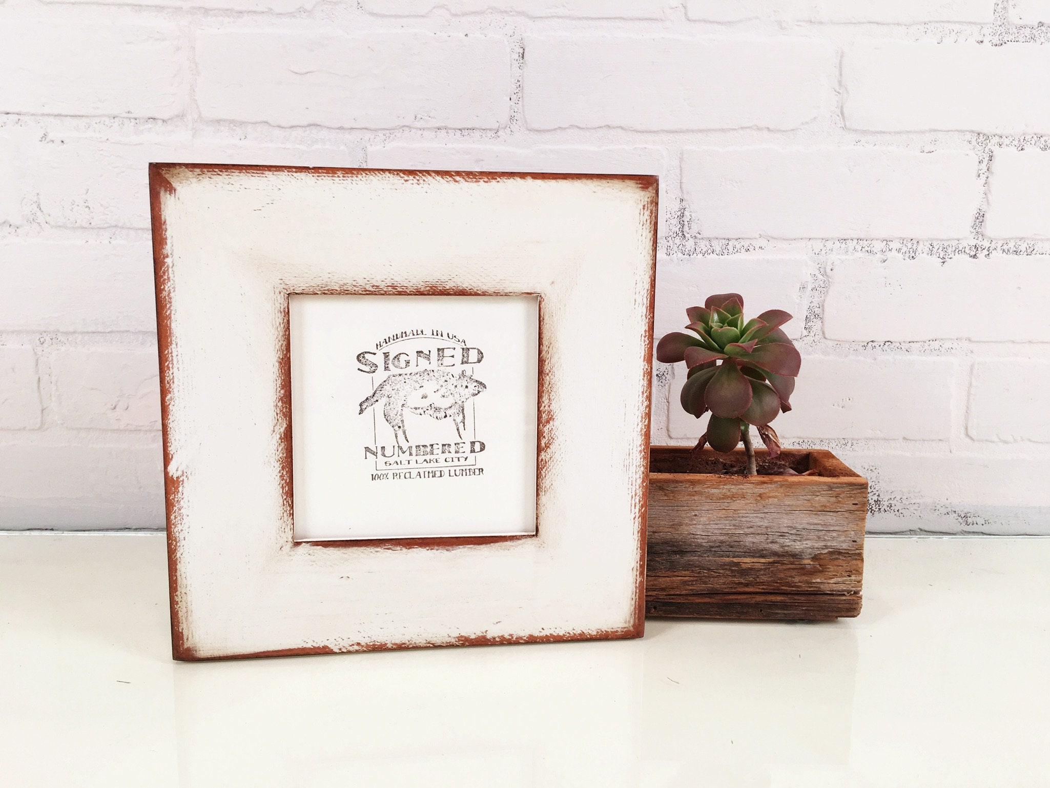 5x5 Square Picture Frame in 2.25 Reclaimed Redwood with Super ...