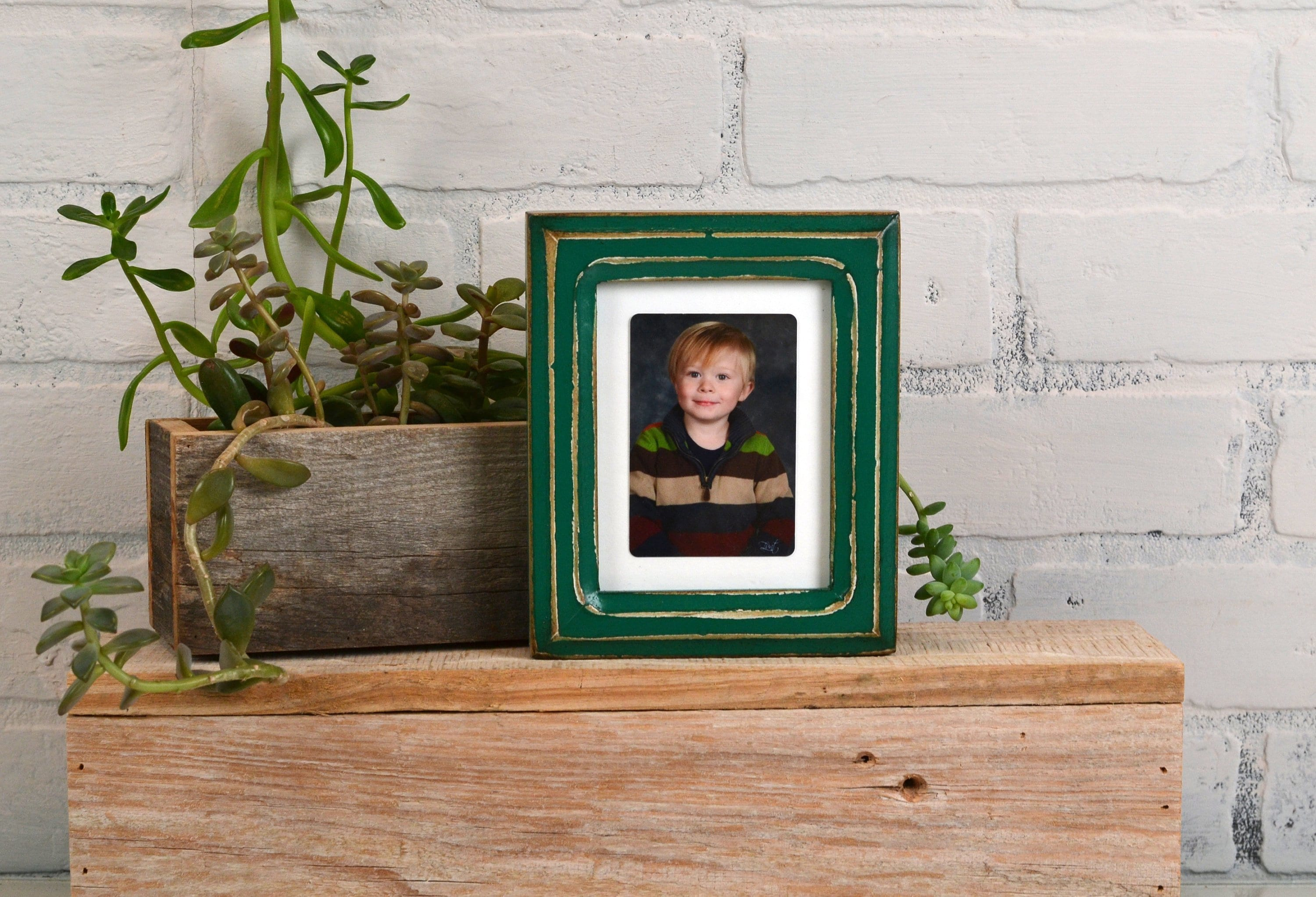 35x45 Aceo Wallet Size Picture Frame With Vintage Peacock Green