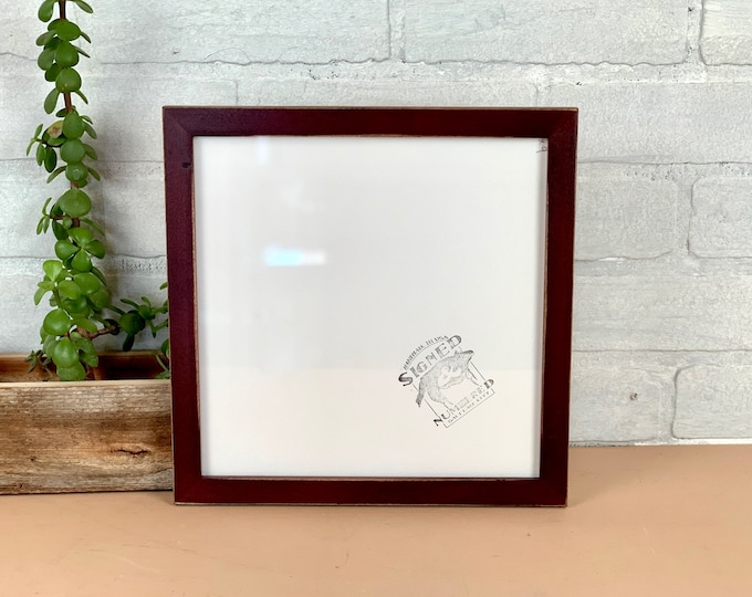 9x9 Square Picture Frame - SHIPS TODAY - Peewee style with Vintage Mahogany Finish - In Stock - 9 x 9 inch Photo Frame Rustic