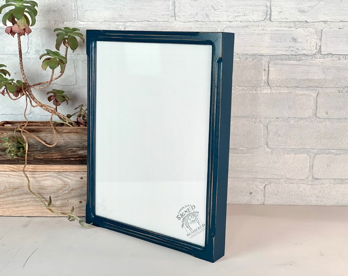 """11x14"""" Picture Frame - SHIPS TODAY - Deep Bones Style with Vintage Navy Blue Finish - In Stock - Handmade 11 x 14 Canvas Depth Frame"""