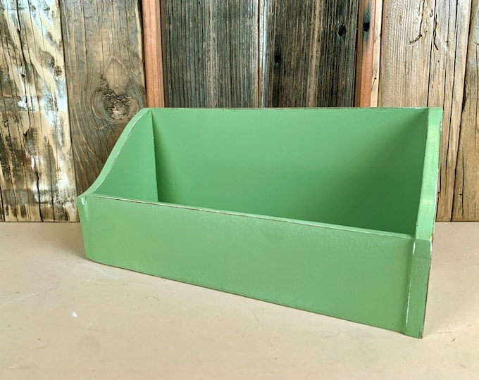 Personalized Desktop Letter / Mail / Organizer Box with Vintage Guacamole Green Finish built from solid poplar hardwood - SHIPS RIGHT AWAY